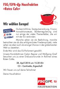 Rotes Cafe-EU-Wahl - Einladung